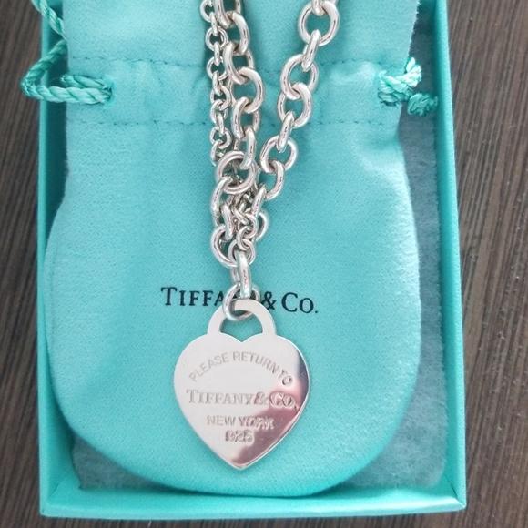 Tiffany Co Jewelry Tiffany Double Chain Heart Tag Necklace Poshmark